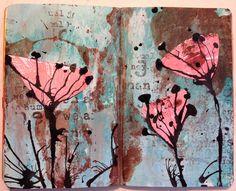 Sarah Anderson art journal page : inky-painty splatterings in {eggplant} hues