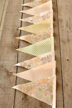 Dainty Florals- Vintage Bunting Banner with 12 Flags. $25.00, via Etsy.