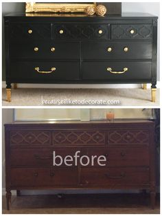Love. Dresser makeover with gold feet