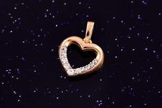 Zlatý přívěsek srdce se zirkony P053 1,20g Symbols, Letters, Letter, Lettering, Glyphs, Calligraphy, Icons
