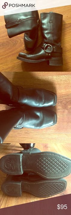 Awesome Harness Black Leather Size: 8 FRYE BOOTS Great condition, bummed because my calves are a little tight in them 😭 Frye Shoes Combat & Moto Boots
