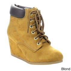 a4320b065de Soda Inso-s Women s Stitching Up Comfort Wedge Ankle Booties Lace Up Booties