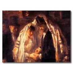 Jewish Wedding - Vintage Art by Israëls Postcard