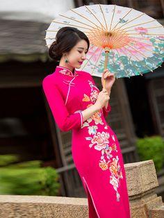 TZL-15758 Orange floral butterflies mbroidery mandarin collar traditional Chinese wedding dress long sleeve  rose red wool winter cheongsam 001