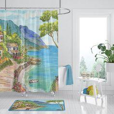 Seaside Town Shower Curtain Mediterranean Scene Fabric