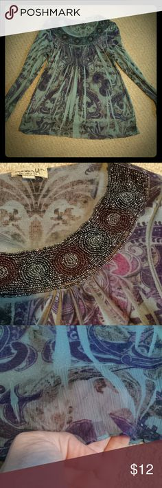 """Beaded Paisley Top - Petite Large Beautiful detail around the neckline with this top.  Colors are blue and purple with hints of grey and light brown Bottom of top has 4"""" of sheer fabric Looks stunning paired with jeans Tops Blouses"""