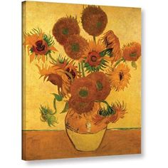 Vangogh Vase With Fifteen Sunflowers Wrapped Canvas Art, Size: 14 x 18, Green