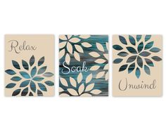 Modern Abstract wall art. Set of 3 bathroom art prints done in shades of blues, aqua, teal, grey and beige and featuring the text Relax, Soak,