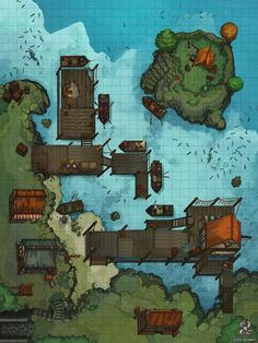 Docks Battle Map for Dungeons & Dragons and Pathfnder Rwby, Dnd World Map, Pen & Paper, Village Map, Urban Village, Building Map, Rpg Map, Adventure Map, Dungeon Maps