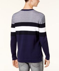 Armani Exchange Men's Stripe Sweater - Blue XXL