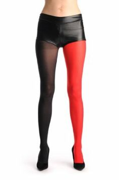 LissKiss One Leg Red & One Leg Black - Red Opaque Designer Pantyhose (Tights)