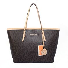 Michael Kors Jet Set Logo Large Brown Totes.More than 60% Off, I enjoy these bags.It's pretty cool (: JUST CLICK IMAGE~ | See more about fashion icons, michael kors jet and kors jet set.