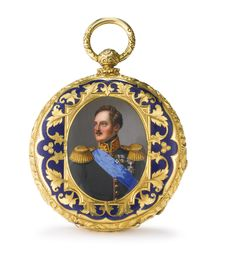 AN ENGLISH GOLD AND ENAMEL POCKET WATCH, JOHN SALTER, LONDON, CIRCA 1840 the cover with a portrait of Nicholas I within a basse-taille border, ten jewel lever movement, the bridges engraved throughout with foliage, the case numbered 34921