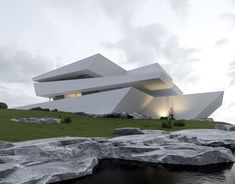 Modern Architecture House, Futuristic Architecture, Architecture Design, Facade Design, Exterior Design, House Design, Futuristic Home, Unique Buildings, Modern Mansion
