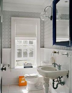 wallpaper ♥ sconces ♥ mirror ♥ orange pop ♥ white roman shade ♥ wainscoting