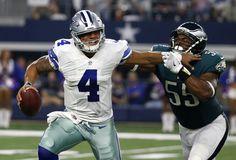 Cowboys QB Dak Prescott's proved he can do it all Week 8, including keeping Eagles DE Brandon Graham at bay. (AP/Ainsworth)