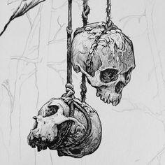 Dark Art Drawings, Art Drawings Sketches, Advanced Higher Art, Crane, Skull Illustration, Human Skull, High Art, Skull Design, Character Design