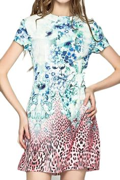 abaday Floral Print Zippered Round Neck Loose Dress - Fashion Clothing, Latest Street Fashion At Abaday.com