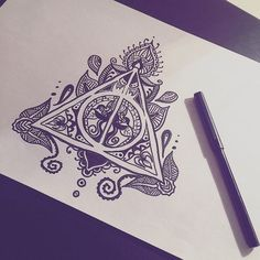art, book, deathly hallows, drawing, harry potter, hogwarts, hp