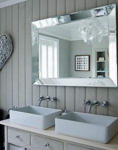 Grey Bathroom with Double Basin and Large Mirror - The Room Edit Grey Vanity Unit, Vanity Units, Grey Bathrooms, Beautiful Bathrooms, Cottage Bathrooms, Cottages By The Sea, White Cottage, Gray Interior, Traditional Bathroom