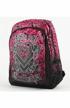 NWT Metal Mulisha Awesome Black Pink Heart School Backpack Book Bag Free  Ship  MetalMulisha   f5c8747398e6c