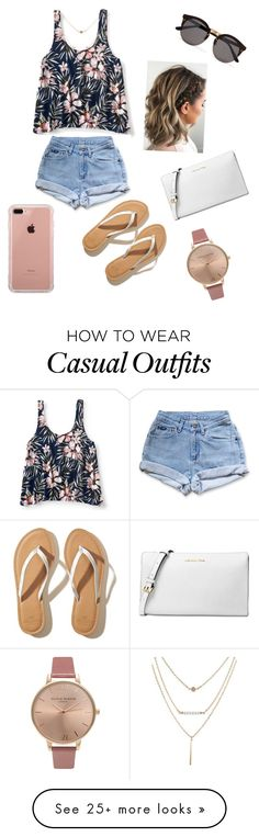 """Casual summer day"" by leslieyepez on Polyvore featuring Aéropostale, Levi's, Hollister Co., Illesteva, Belkin, Olivia Burton and Michael Kors"