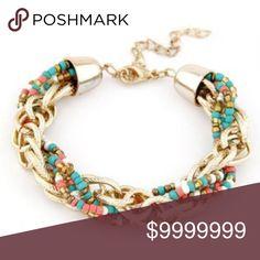 Gold Tone Chain & Mini Bead Weaved Bracelet Gold Tone & Multi Colored Chain & Mini Bead Weaved Bracelet Jewelry Bracelets
