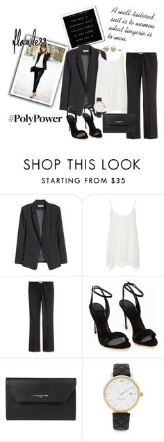 """""""Power Outfit"""" by gina-hession ❤ liked on Polyvore featuring H&M, ATM by Anthony Thomas Melillo, Polo Ralph Lauren, Lancaster, Kate Spade, PolyPower and blackpowersuite"""