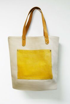 Idee - ausprobieren: auf Stofftasche eine Tafelfolie-Tasche aufnähen ...   Leathinity - Beige Canvas Tote Bag w/ Genuine Leather Handles - Eco Friendly. $64.99, via Etsy.