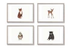 Woodland Animal Nursery Art Set of 4 Prints by studioQgallery
