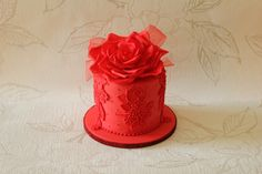 Red/Pink - Bride I made a cake for last year came back and requested the top tier be re made in red!!