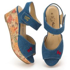 Sanrio Hello Kitty Wedge Sole Sandals Denim & Fruit Shoes Kawaii Japan 64C