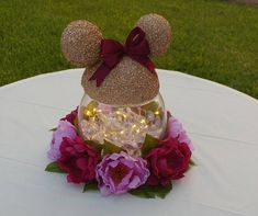 Lighted Minnie Mouse Centerpieces with flowers Set of 3