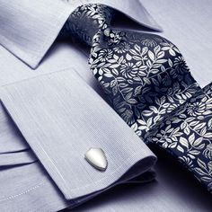 Navy & silver floral handmade tie   Men's handmade ties from Charles Tyrwhitt, Jermyn Street, London