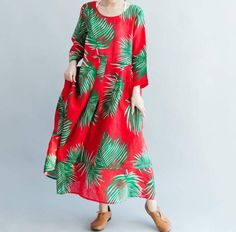 Red long doll dress large size maxi dress Women long Leisure