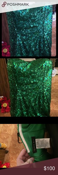 Green sequin dress by Alyce paris Short St Patrick green sequin dress.  The size is a 14, the length is about 26 inches long, and It has never been worn! When I bought it I fell in love with it, but now that I'm in a transport/wheel chair, I'm not feeling it anymore, maybe it's my age too . lol!  I hope it finds itself a beautiful home. Alyce Paris Dresses Mini
