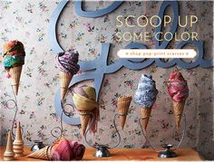 This is such a great merchandising idea that Anthropologie has on their website in the accessory & Jewelry section. Their image themes are an old fashioned Gelato theme. I think this is a beautiful display and extremely creative. Scarfs are the perfect accessory for any season and so fun to merchandise.