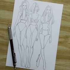 Fashion Illustration Speed Painting with Ink - Drawing On Demand Fashion Figure Drawing, Fashion Model Drawing, Fashion Drawing Dresses, Dress Design Sketches, Fashion Design Sketchbook, Fashion Design Drawings, Illustration Mode, Fashion Illustration Sketches, Fashion Sketches