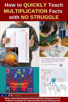 How to Quickly Teach Multiplication Facts with No Struggle (Learning Specialist and Teacher Materials - Good Sensory Learning) Elementary Science, Elementary Education, Upper Elementary, Preschool Printables, Preschool Math, Teaching Multiplication, Math Strategies, Educational Technology, Educational Games