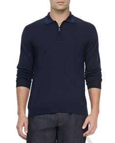 1/4-Zip Long-Sleeve Polo Sweater, Navy  by Salvatore Ferragamo at Neiman Marcus.