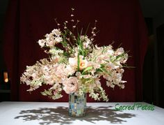 Pink Orchids, Roses, Mixed Silk Flower Arrangement in a Mosaic Glass Vase