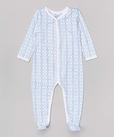 Loving this White & Blue Medal Organic Footie on #zulily! #zulilyfinds