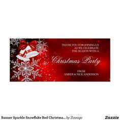 Banner Sparkle Snowflake Red Christmas Party Poster
