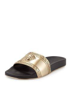 VERSACE Metallic Medusa-Head Slide Sandal, Black/Gold. #versace #shoes #sandals