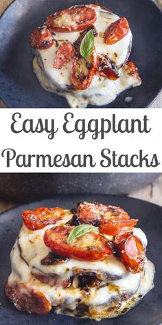 When you have a craving for Eggplant Parmesan but don't want to go to all the trouble, then these Eggplant Stacks are perfect, made with grilled eggplant, mozzarella, parmesan cheese and a simple fresh tomato sauce and baked. Eggplant Dishes, Vegetable Recipes, Vegetarian Recipes, Healthy Recipes, Vegetarian Appetizers, Mozzarella Sandwich, Appetizer Sandwiches, Fingerfood Party, Breakfast