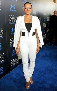 The America's Got Talent judge,  Mel B, spiced up the scene in a white Kimora Lee Simmons jumpsuit with black accents, topped off with a crisp, white blazer.