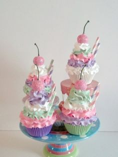 Pastel Fake Cupcakes Photo Props, Birthday Party Decor and Displays, Fairy, Princess, Tea Party Photo Sessions on Etsy, $42.00