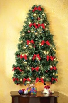 Electric Lighted Christmas Hanging Wall Tree Apartment Tiny Houses Cabin Decor #allproceedsgotohelpthedisabled