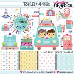 Travel Clipart, Travel Graphics, COMMERCIAL USE, Kawaii Clipart, Road Trip Clipart, Planner Accessories, Travel Party, Tourism, Drive