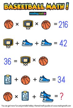 Are Your Kids Ready for These Basketball Math Puzzles? Maths Puzzles, Puzzles For Kids, Math Worksheets, Kids Math, Math Word Problems, Logic Problems, Math Workbook, Math Writing, Math Challenge